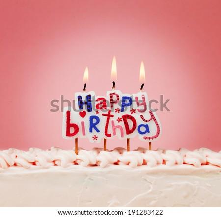 happy birthday candles  - stock photo