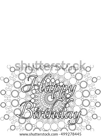 Happy Birthday Card Coloring Page Stock Illustration 499278445