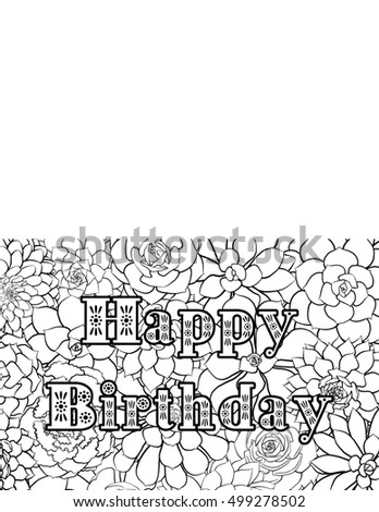 Happy Birthday Card Coloring Page Stock Illustration 499278502