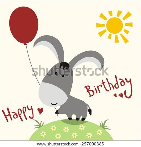 Happy Birthday Card Funny Donkey Balloon Illustration – Donkey Birthday Card