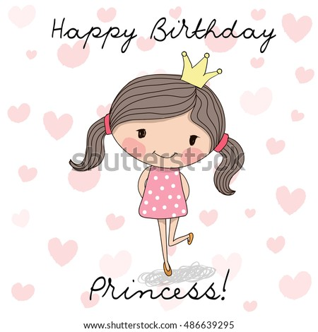 Happy birthday card cute little princess stock illustration happy birthday card cute little princess stock illustration 486639295 shutterstock bookmarktalkfo Images