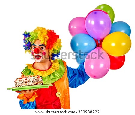 Happy birthday clown holding cake and  bunch of colorful balloons.  Isolated. - stock photo