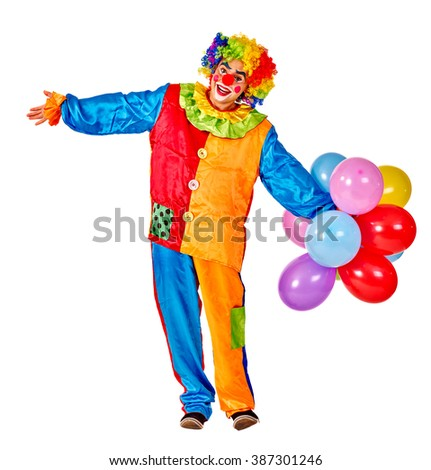 Happy birthday clown man keeps  bunch of balloons.  Isolated. - stock photo