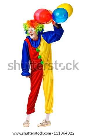 Happy birthday clown with balloons. Full body isolated - stock photo