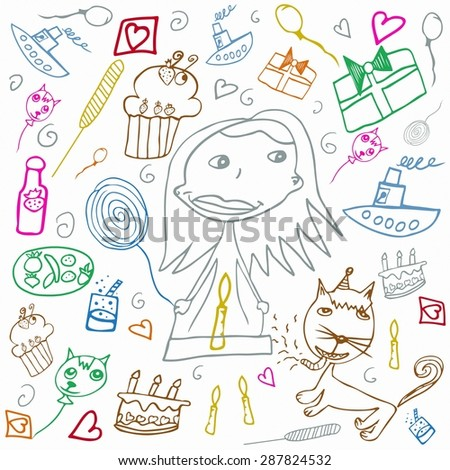 Happy Birthday colorful children's drawings illustration isolated on white background - stock photo