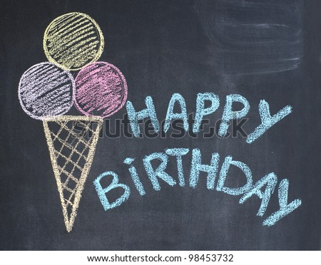 Happy birthday congratulation written by a chalk on a blackboard - stock photo