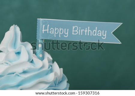 Happy Birthday cupcake card design - stock photo