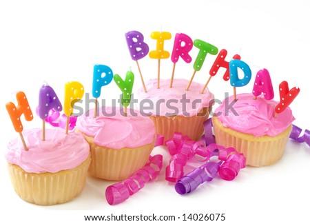 Happy Birthday cupcakes - stock photo