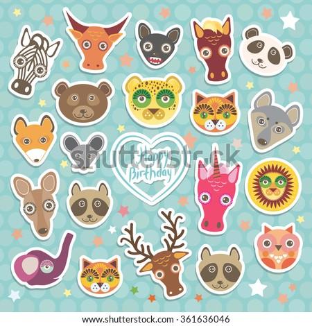 Happy birthday. Funny Animals card template on light blue Polka dot background.  - stock photo