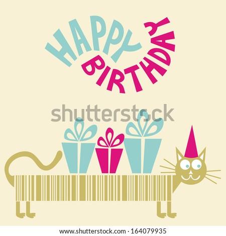 Happy birthday greeting card long cat stock illustration 164079935 happy birthday greeting card long cat stock illustration 164079935 shutterstock m4hsunfo