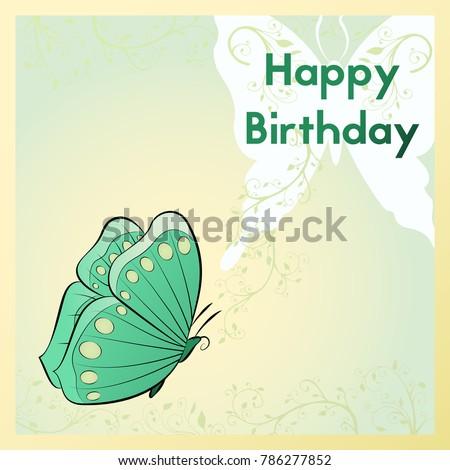 Happy Birthday Greeting Card Postcard Decorated Stock Illustration