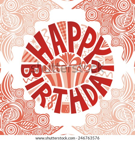 Happy birthday greeting card with beautiful flowers illustration - stock photo