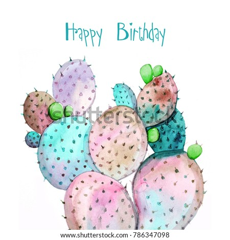 Happy Birthday Greeting Cards Watercolor Cactus Stock Illustration