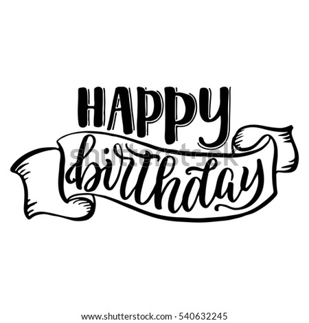 Happy birthday hand lettering sketch ribbon stock illustration happy birthday hand lettering with sketch ribbon isolated on white background altavistaventures Image collections