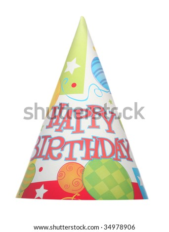 Happy Birthday isolated party hat on white background - stock photo