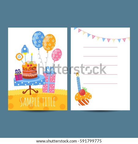 Happy Birthday Kids Postcard Template Raster Stock Illustration ...