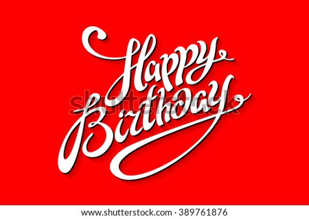 happy birthday lettering template illustration red background art