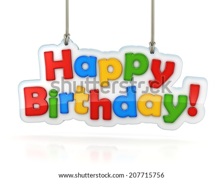 Happy Birthday multicolor words icon hanging isolated on white with clipping path - stock photo