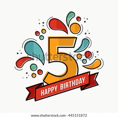 Happy birthday number 5 greeting card stock illustration 445151872 happy birthday number 5 greeting card for five year in modern flat line art with bookmarktalkfo Image collections