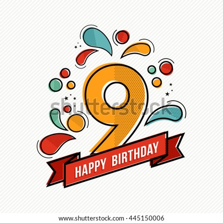 Happy birthday number 9, greeting card for nine year in modern flat line art with colorful geometric shapes. Anniversary party invitation, congratulations or celebration design. - stock photo