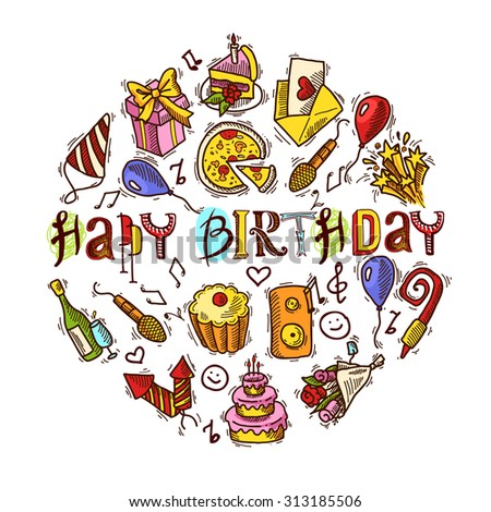 Happy birthday party celebration colored decorative elements set in circle shape  illustration