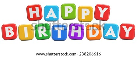 Happy Birthday party fun colorful text title cubes isolated on white. - stock photo