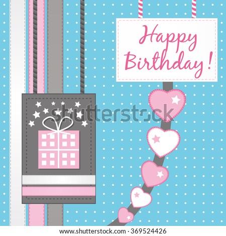 Happy birthday. Scrapbooking greeting card. - stock photo