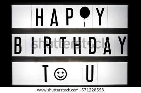 happy birthday text balck white on stock photo edit now 571228558