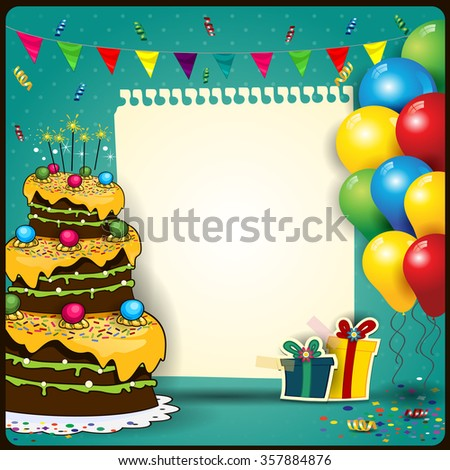 Happy Birthday with a sheet of paper with balloons and cake - stock photo