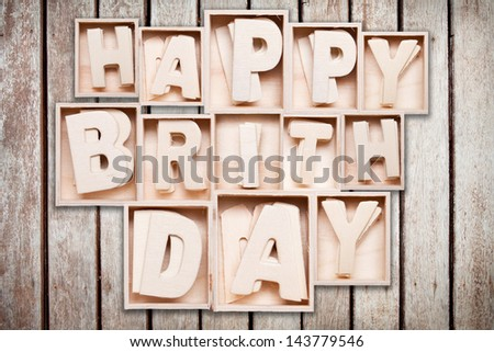 happy birthday wood alphabet style