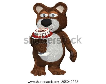 Happy birthday year, character bear - stock photo