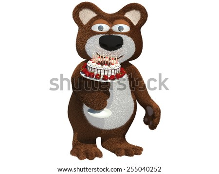 Happy birthday year, character bear - stock photo