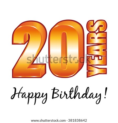 Happy birthday. 20 years old greeting card. - stock photo