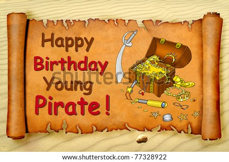 Happy birthday young pirate card with a treasure chest on a parchment scroll - stock photo