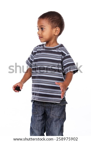 Happy black african child in studio isolated on white. - stock photo