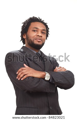 Happy black businessman isolated on white - stock photo