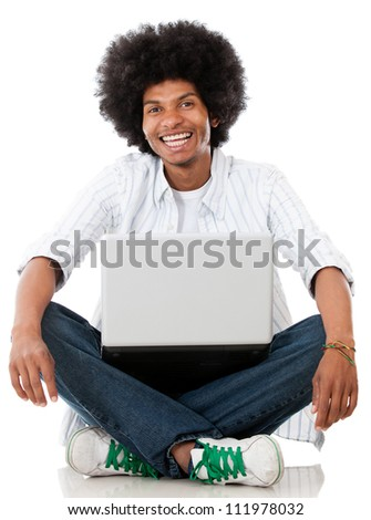 Happy black man with a laptop - isolated over a white background