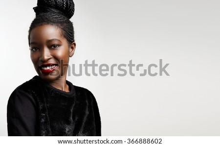 happy black woman - stock photo