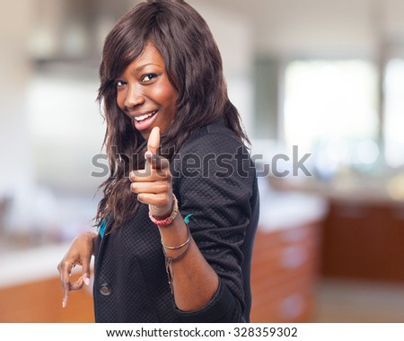 happy black-woman standing - stock photo