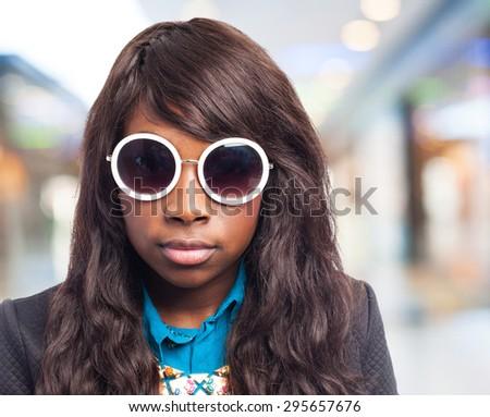 happy black-woman with sunglasses - stock photo