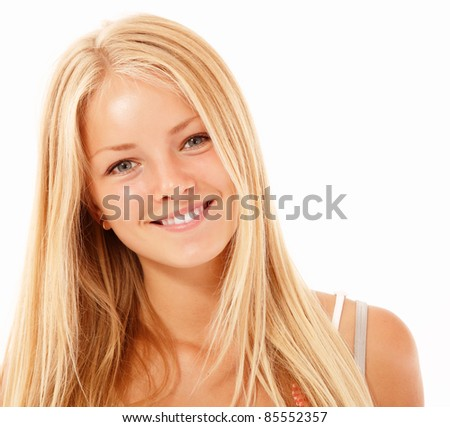 happy blond teen girl beautiful cheerful smiling isolated on white background - stock photo