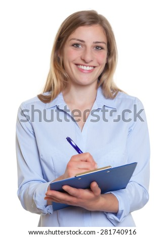 Happy blonde businesswoman with clipboard
