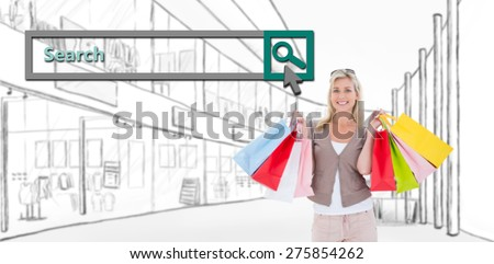 Happy blonde holding shopping bags against search engine - stock photo