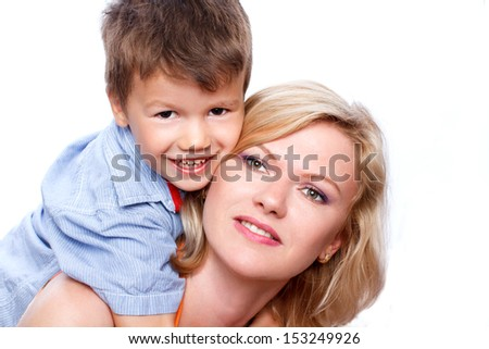 Happy blonde mother with son, isolated