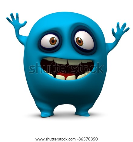 Happy blue monster - stock photo