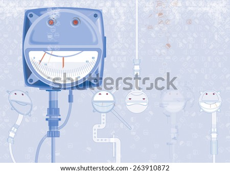 Happy blue smiling face - emoticon, background for poster, web banner. Strange mechanical creatures. - stock photo