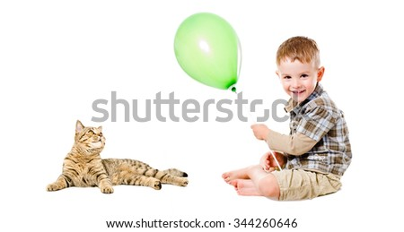 Happy boy and cat Scottish Straight isolated on white background