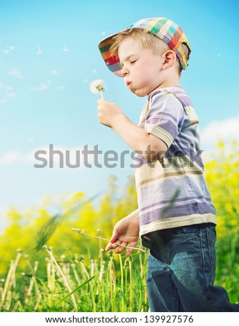 Happy boy blowing away dandelion - stock photo