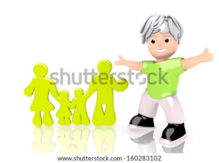 happy boy 3d graphic with young family sign  with cute 3d character - stock photo