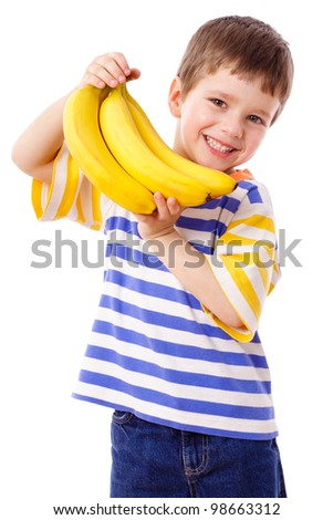 Happy boy holds a bunch of bananas, isolated on white - stock photo